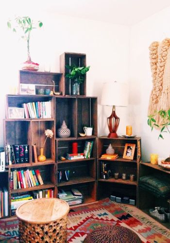 bibliothèque caisse en bois