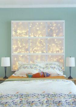 tete de lit guirlandes lumineuses - Pinterest - Cultureandbeaute